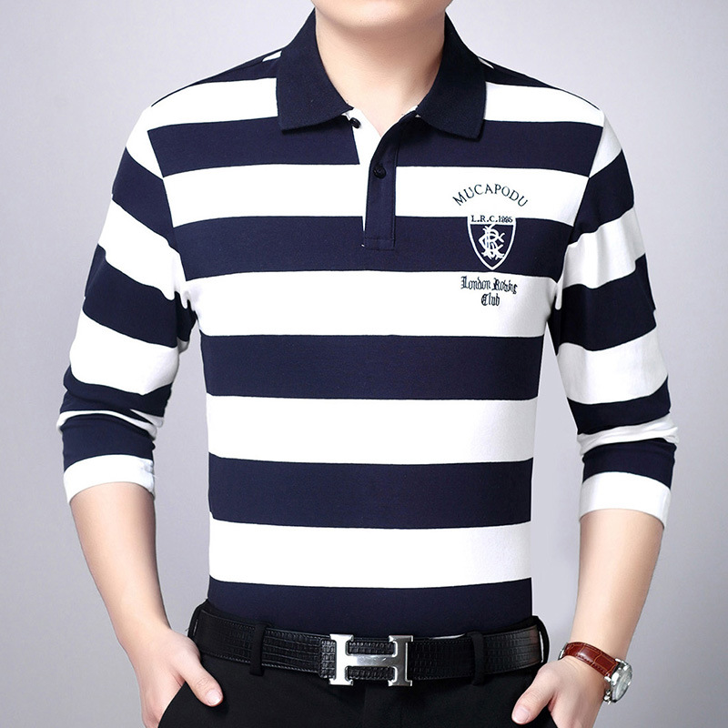 2019 New Luxury Brand   Polo   Shirt Men High Quality Striped Sweater Men 3D embroidery   polos   shirt para hombre