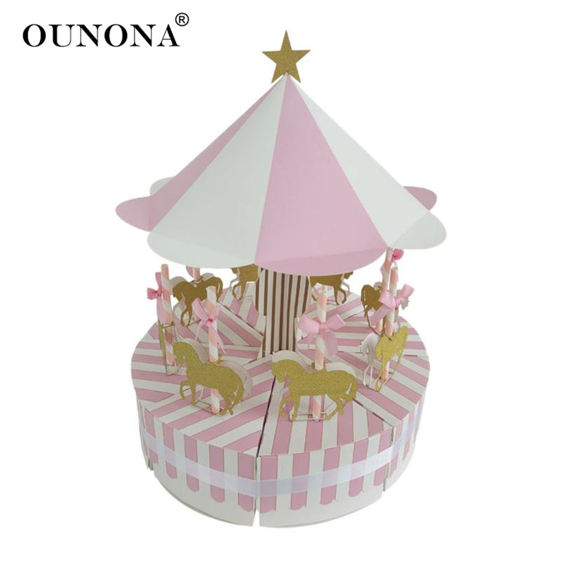 OUNONA Creative Carousel Paper Candy Box Wedding Vintage Candy Storage Boxes Chocolate Gift Treat Boxes Wedding Party Favor
