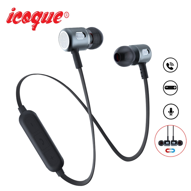 Icoque Magnetic Bluetooth Earphone Wireless Stereo Headphones with Mic for Xiaomi Samsung iPhone Huawei In-Ear Bluetooth Headset