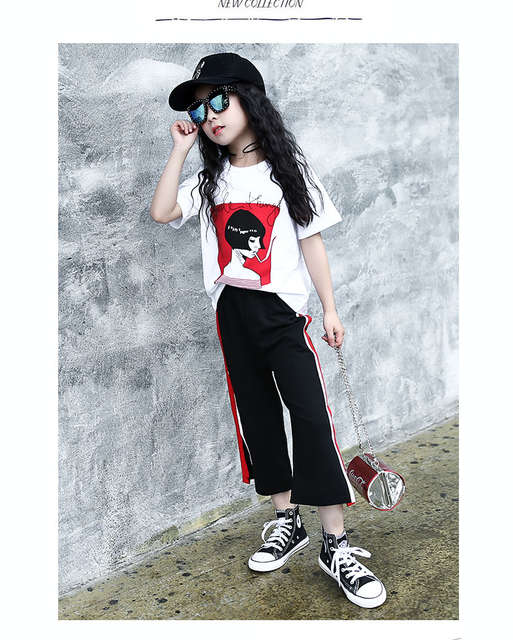 3e325470718cd US $21.83 9% OFF|110~175 cm shirt +pants teenage 13 14 15 16 years old  girls clothing set 2 pieces summer 2017 -in Clothing Sets from Mother &  Kids on ...