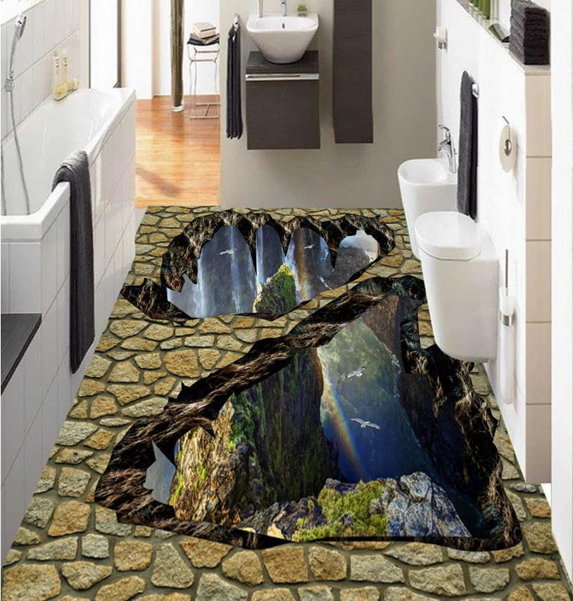 ФОТО 3d floor images creative custom sticker 3d floor valley waterfall self adhesive wear waterproof PVC murals
