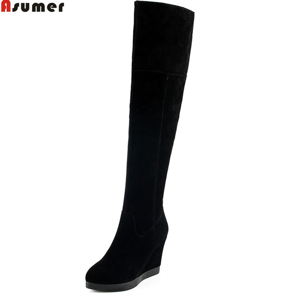 ASUMER 2018 fashion new arrive women boots round toe ladies cow suede boots black zipper wedges over the knee boots leather asumer 2018 hot sale new arrive women boots fashion zipper black genuine leather pointed toe ladies boots simple mid calf boots