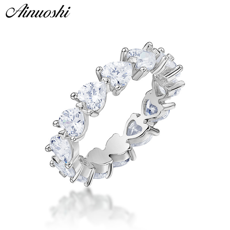 AINUOSHI 925 Sterling Silver Wedding Engagement Full Enternity Rings Anniversary Heart Cut Ring Silver Women Bridal Ring JewelryAINUOSHI 925 Sterling Silver Wedding Engagement Full Enternity Rings Anniversary Heart Cut Ring Silver Women Bridal Ring Jewelry