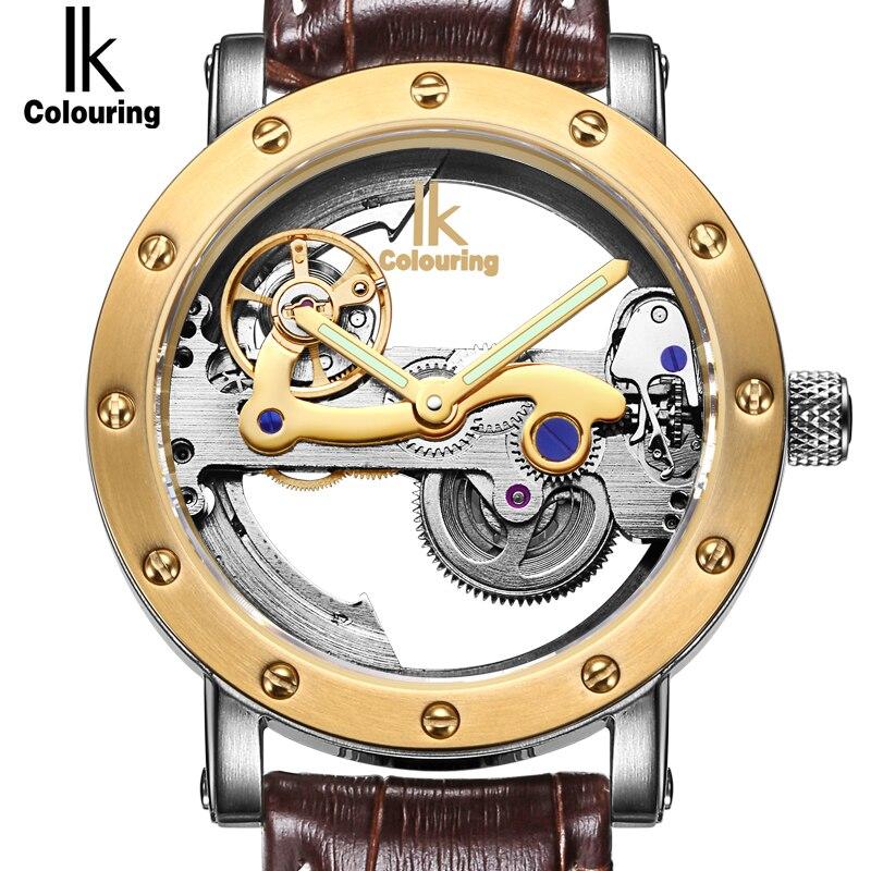 IK Top-marke Luxury Self-Wind Automatische Mechanische Uhren Männer Rotgold Echtes Leder Skeleton Uhr relogios masculino