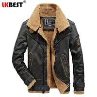 LKBEST New Retro Leather Jacket Men faux fur coat men Thick biker jacket men PU winter Windbreaker Coats Plus Size Outwear PY39