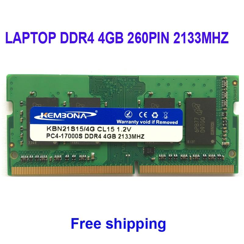 цена на Kembona NOTEBOOK SODIMM RAM MEMORY LAPTOP DDR4 4GB 4G 2133mhz Low Voltage 1.2V 260Pin