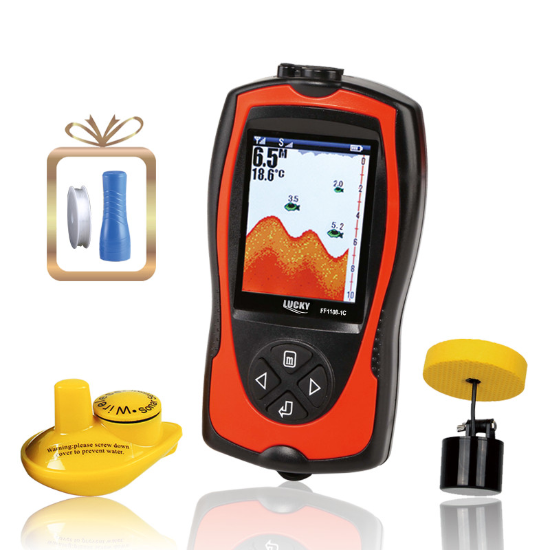 LuckyFish Finder echo sounder Portable 2-in-1 Wireless&Wired Waterproof Sonar Transducer Carp Fishing English&Russian FF1108-1C lucky ff1108 1c portable 2 in 1 wireless