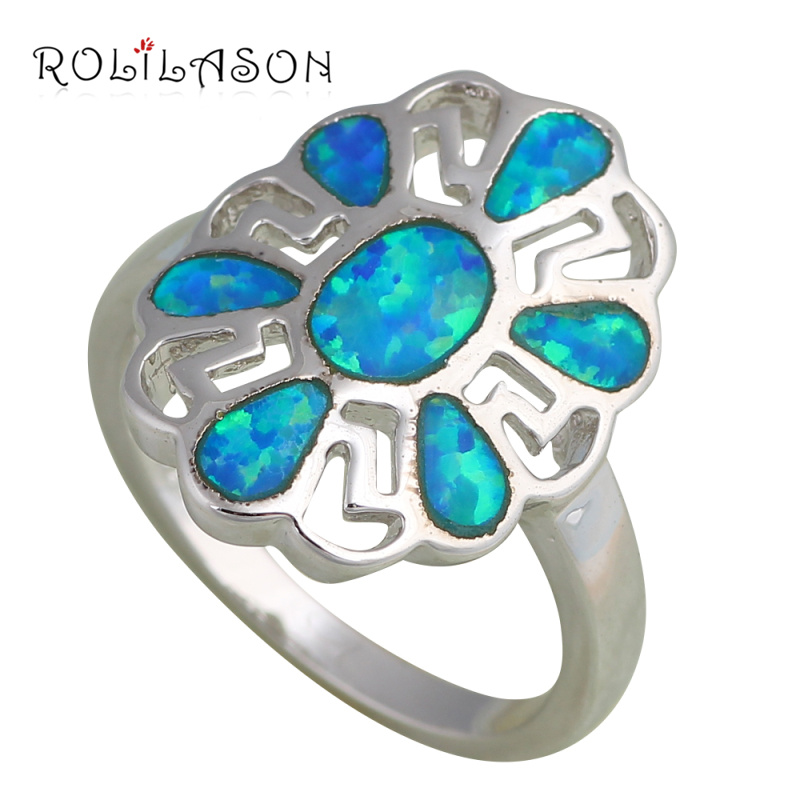 Amazing New Arrival Best Anniversary gifts Fashion Jewelry Blue Fire Opal Silver Stamped Rings USA #8 #7 OR484