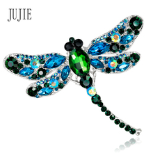 JUJIE Fashion Dragonfly Brooches Large Crystal Brooches For Women Scarf Lapel Vintage Brooch Pins Animal Jewelry Dropshipping(China)