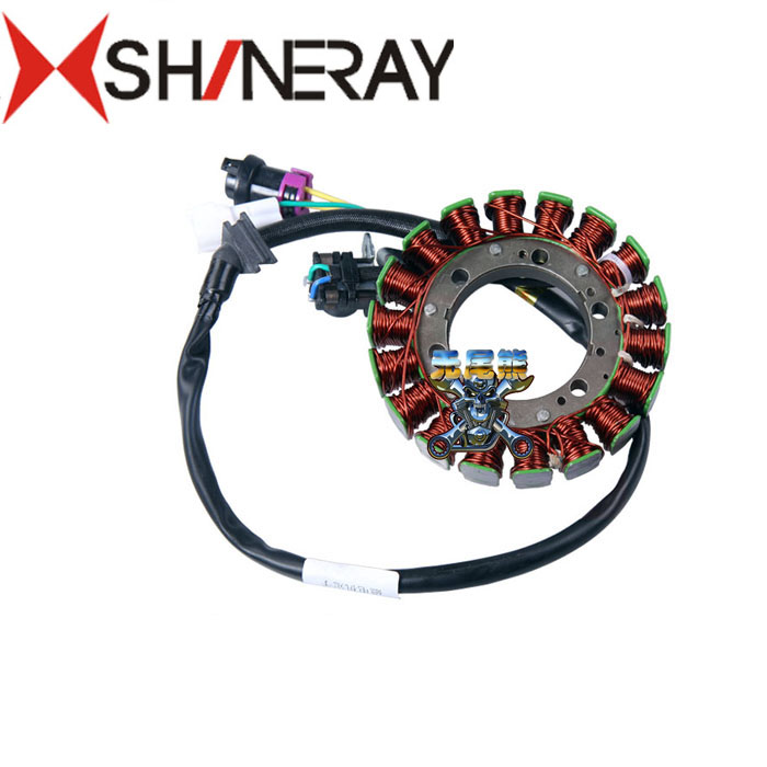 shineray x5 xr400 400cc engine stator 12v 18 coils dc magneto coil motorcycle accessories magneto coil 12v 18 coils 3 2 pins repair water cooled cf188 cf500 18 pole stator utv atv buggy go kart 0180 032000 xq cf500