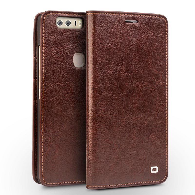 For Huawei Honor 8 Leather Cases font b QIALINO b font Genuine Leather Wallet Cover for