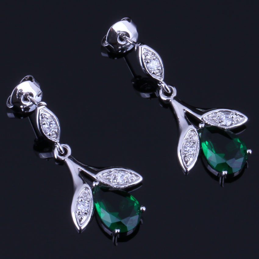 Sublime Plant Green Cubic Zirconia White CZ 925 Sterling Silver Drop Dangle Earrings For Women V0726 in Drop Earrings from Jewelry Accessories