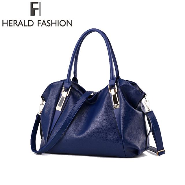 Herald Fashion Designer Women Handbag Female PU Leather Bags Handbags Ladies Portable Shoulder Bag Office Ladies Hobos Bag Totes
