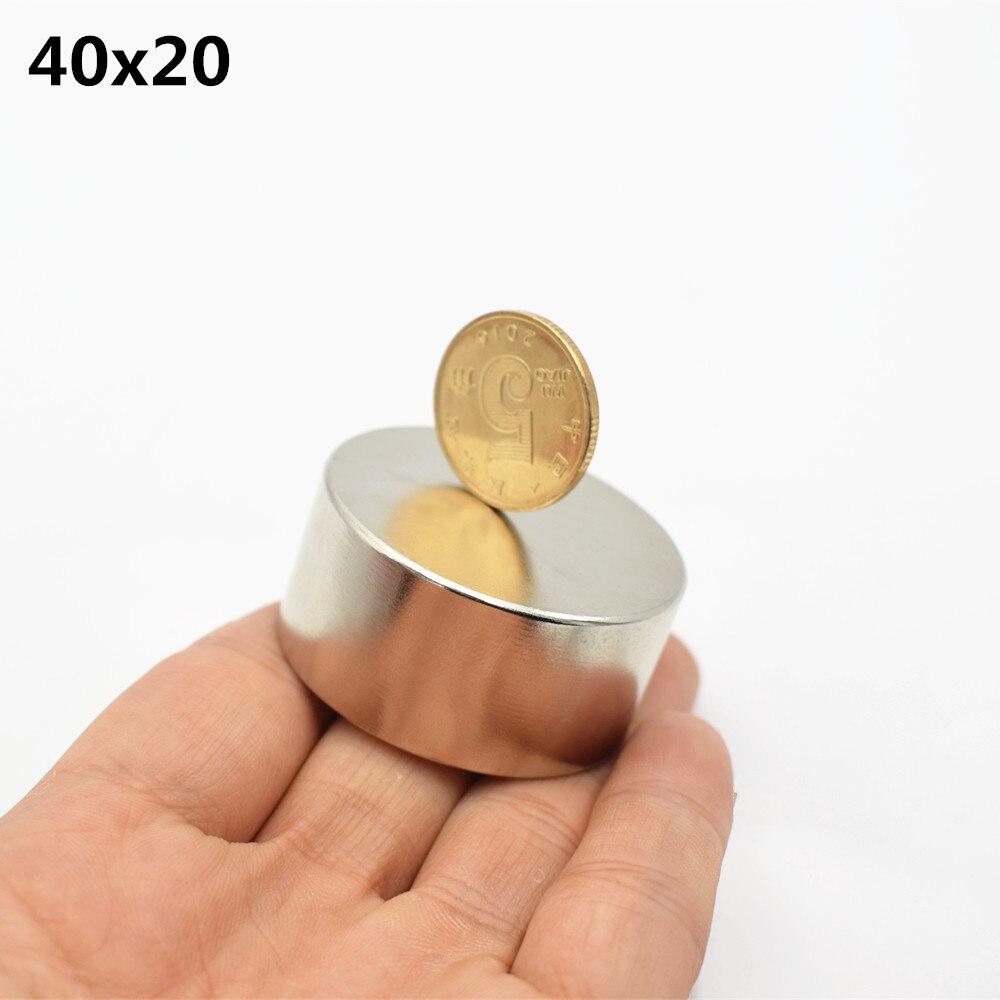 1 PC nunid 52 imán de neodimio 40mm 20 super fuerte redondo tierra rara potente NdFeB galio altavoz de metal magnético 40*20mm disco N35