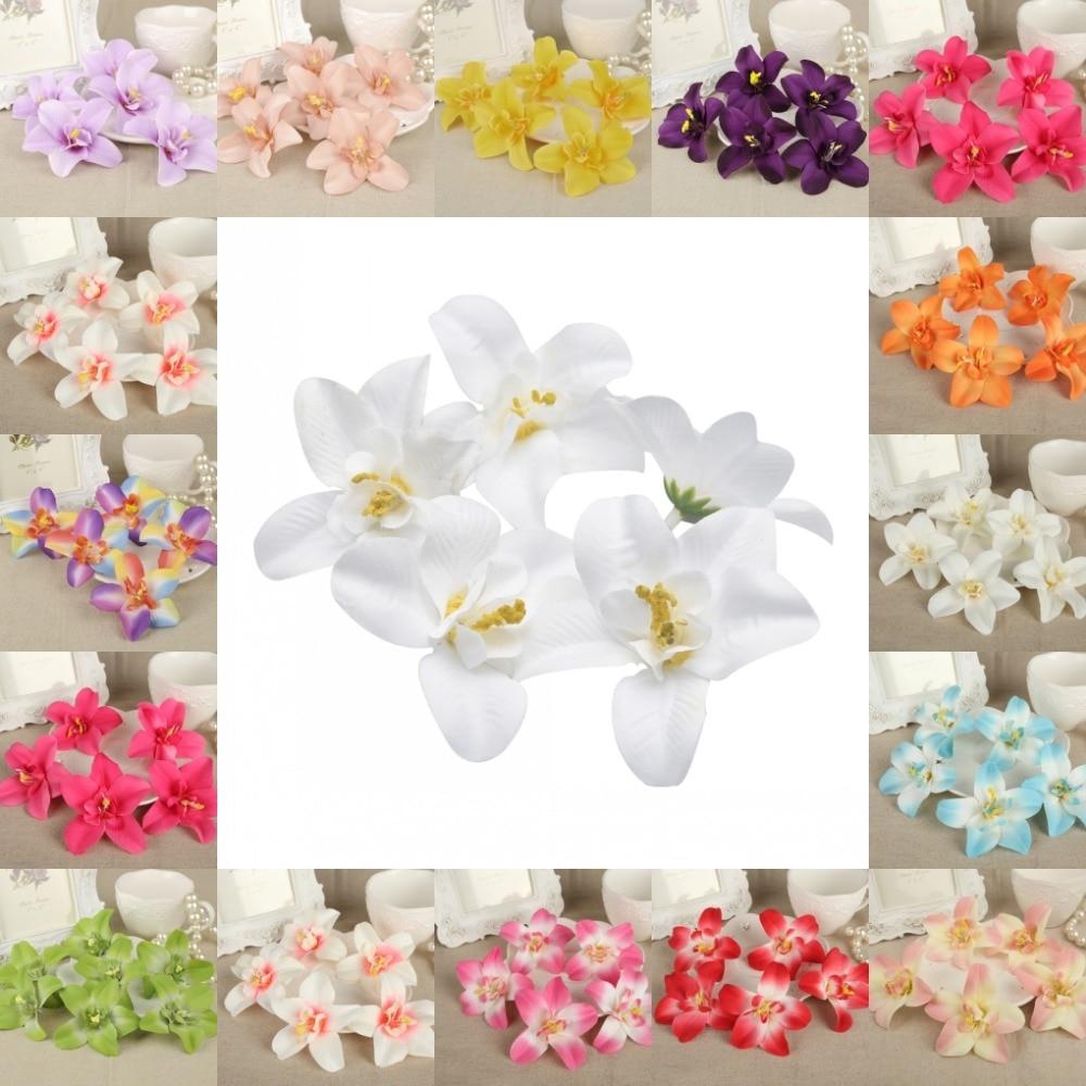 ᗑ】DIY 50Pcs 8cm Flower Heads Artificial Silk Cattleya Lily Flower ...