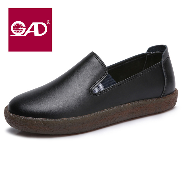 22d18ef00b53 2017 autumn leather casual shoes flat with soft bottom round Le Fu shoes  Ms. black flat work shoes single shoes female