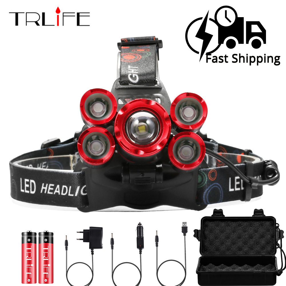 60000Lm Ultra Bright Headlamp 5xT6 LED Headlight Zoom Head Lamp Torch 4 Mode Rechargeable Forehead Light Use 2x18650 Battery air dragon portable air compressor