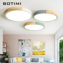 Современные светодиодные потолочные светильники BOTIMI 220 В с металлическим абажуром для спальни, круглые деревянные потолочные акриловые осветительные приборы