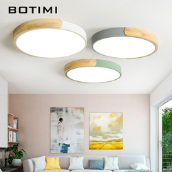 BOTIMI Modern 220V LED Ceiling Lights With Metal Lampshade For Bedroom Round Wooden Ceiling Mounted Acrylic Lighting Fixtures