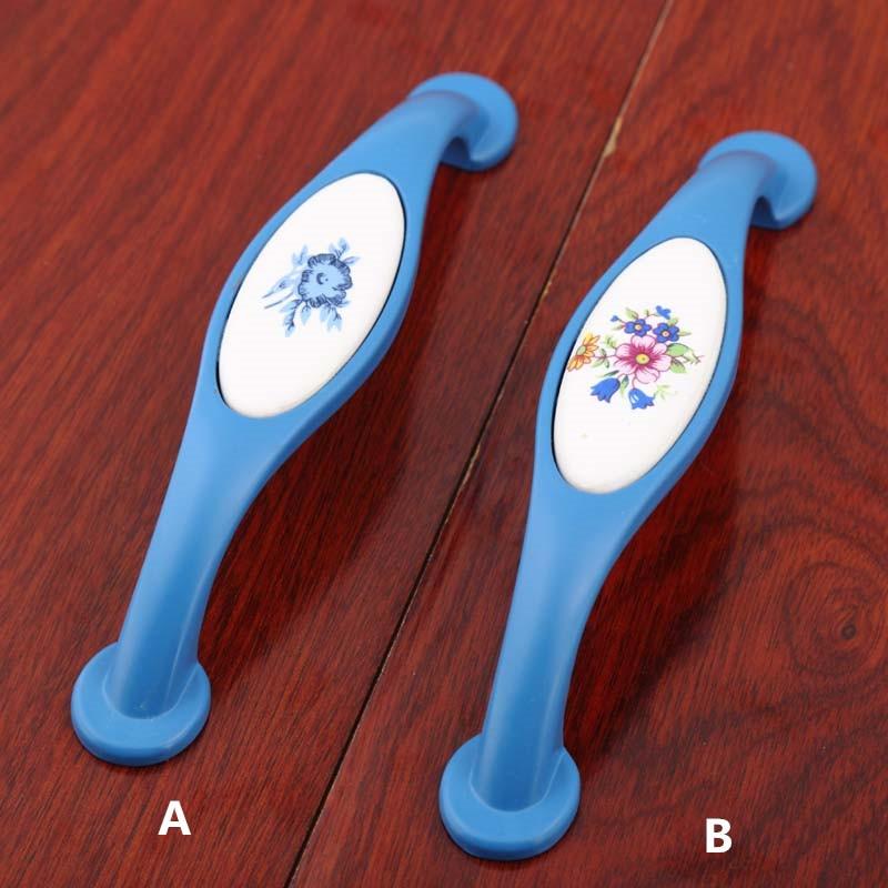 fashion rural white and blue porcelain handle 128mm blue kitchen cabinet drawer handle 5'  modern dresser cupboard door pulls