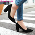 VINLLE 2017 Women Pumps Pointed Toe Spring Autumn Shoes Square High Heel Party Women Shoes Lady Flock Wedding Shoes Size 34-43