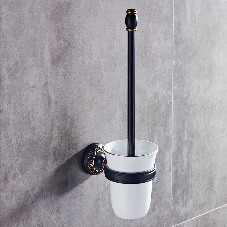 Avoid Punch European Black TOILET Closestool Brush Cup Holder Space Aluminum Shower Room Toilet Closestool Brush Set Suit toilet closestool butterfly and flower rattan pattern wall sticker