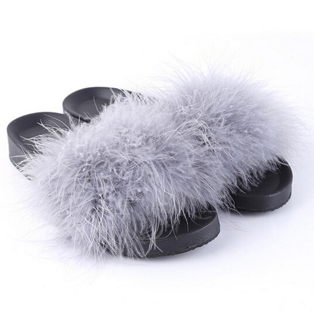 a88969b4a64 HENGSONG Fur Furry Slide Sweet Feather Thick Bottom Beach Female Sandals  Hair Flip Flops Women Slippers Indoor Soft Shoes