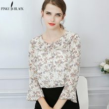 Pinky Is Black 2019 Floral Chiffon Blouse Women Tops Flare Sleeve Shirt Ladies Office Fashion Blusas Chemise Femme