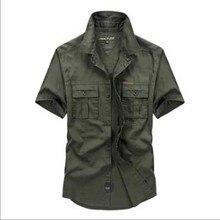 Summer new mens short sleeved shirt pure color