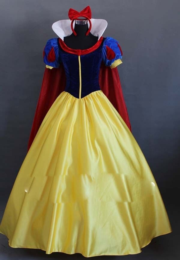 Snow princess blanc or femmes robe longue fille blanche neige cosplay v tements halloween - Blanche neige halloween ...