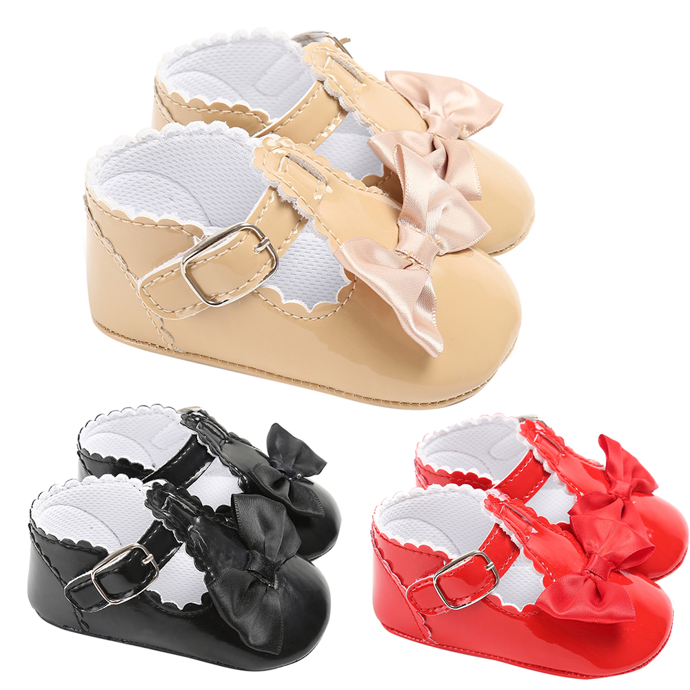 Cute Baby Girls Princess Shoes Bowknot Soft Soled Artificial Leather Shoes First Walkers Infant Anti-slip Prewalker Shoes