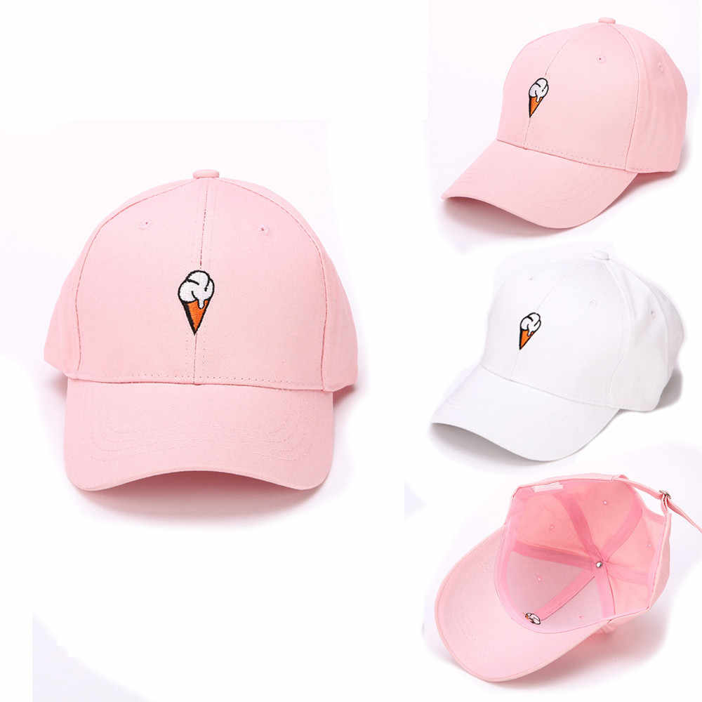 Pink/White Fashion Men Women Ice Cream Embroidery Peaked Hat HipHop Curved Strapback Baseball Cap Adjustable casquette Summer @