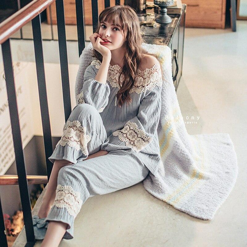 Autumn Slash Neck Sleepwear Cotton Lace Flower Side Long Sleeve Pants Pajamas Set Beautiful Princess Pyjamas Women Pijama Mujer