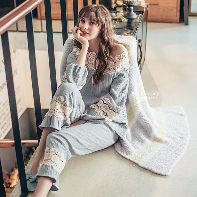 Autumn Slash Neck Sleepwear Cotton Lace Flower Side Long Sleeve Pants   Pajamas     Set   Beautiful Princess Pyjamas Women pijama mujer