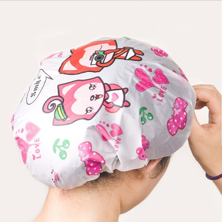 2018 New Arrival Bathroom Accessories Waterproof Shower Cap Elastic Band Hat Bath Cap Cute Cartoon PVC Shower Hats F2609