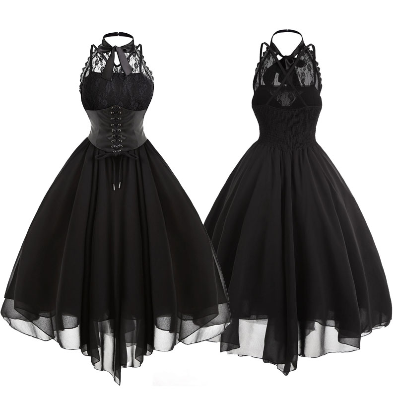 Women Vintage Gothic Bow Party Dress Lolita Girls Sleeveless Cross Back Lace Panel Corset Swing Dress Robe Vestidos Drop Ship