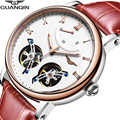GUANQIN 2018, двойной турбийон, автоматические, водонепроницаемые, спортивные, брендовые, роскошные часы, мужские, механические часы, Relogio Masculino A