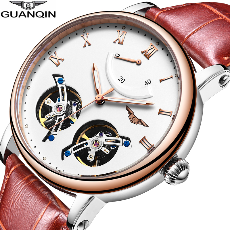 GUANQIN 2018 double Tourbillon Automatic waterproof sport Brand Luxury Watch clock Men Mechanical Watches Relogio Masculino A-in Sports Watches from Watches    1