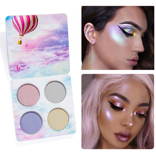 4 colores luminoso sombreador camaleón brillo sombra de ojos en polvo alegrar pigmento paleta de maquillaje Highlighters paleta