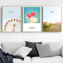 Love Balloon Manor Building Small Clean Posters Modern Home Wall Decorative Painting Print Landscape Pictures