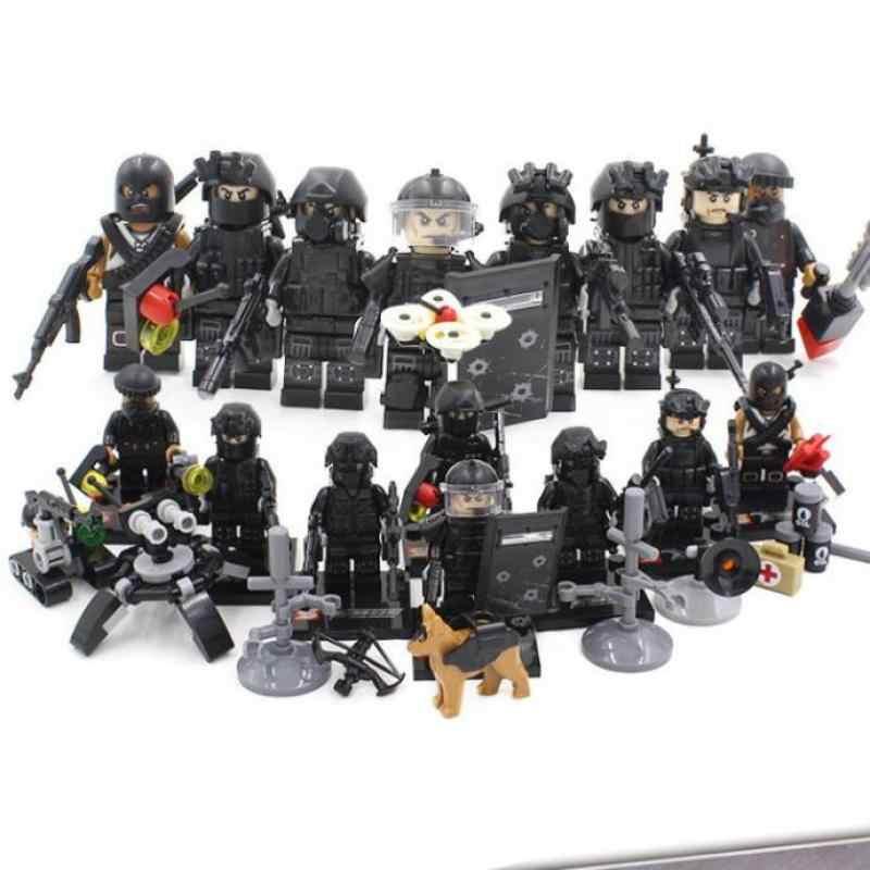 Legoinglys 8pz Cidade Equipe Da Swat Da Polícia Do Exército Militar Arma Ww2 Soldados Com Armas Building Blocks Brinquedos Para Crianças Meninos Presente