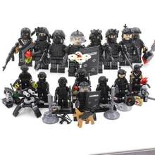 Legoinglys Military 8pz City Police Swat Team Army Soldiers With Weapons Gun Ww2 Building Blocks Toys For Children Boys Gift(China)