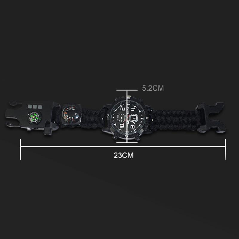 aeProduct.getSubject()  EDC Tactical multi Outside Tenting survival bracelet watch compass Rescue Rope paracord gear Instruments package HTB1