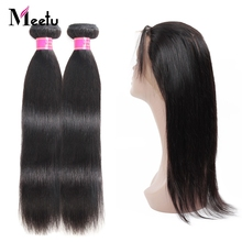Meetu Peruvian Straight Hair 360 Lace Frontal with Bundle 2 Bundles with Frontal 100% Human Hair Bundles with Frontal Non Remy