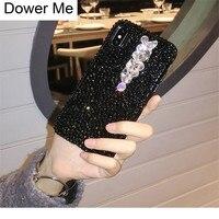 Dower Me Super Luxury Fashion Handmade DIY Bling Crystal Full Black Diamond Soft TPU Phone Case