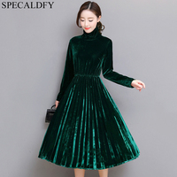 5XL Women Green Black Velvet Dress Winter Turtleneck Dress Long Sleeve Vintage Pleated Dresses Plus Size Women Clothing Vestidos