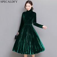 5XL Women Green Black Velvet Dress Winter Turtleneck Dress Long Sleeve Vintage Pleated Dresses Plus Size Women Clothing Vestidos
