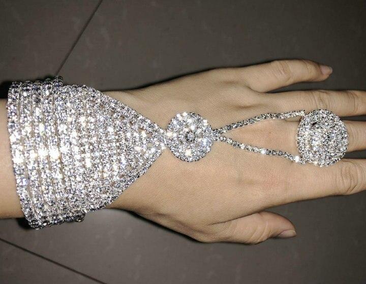 Fashion  Rhinestone Chain Bracelet Cuff Wrap Bangle Jewelry Adjustable Women