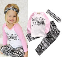 Boutique Kids Baby Girls Top T-shirt Pants Leggings Headband 3PCS Outfits Toddler Kids Clothes Set 0-4T