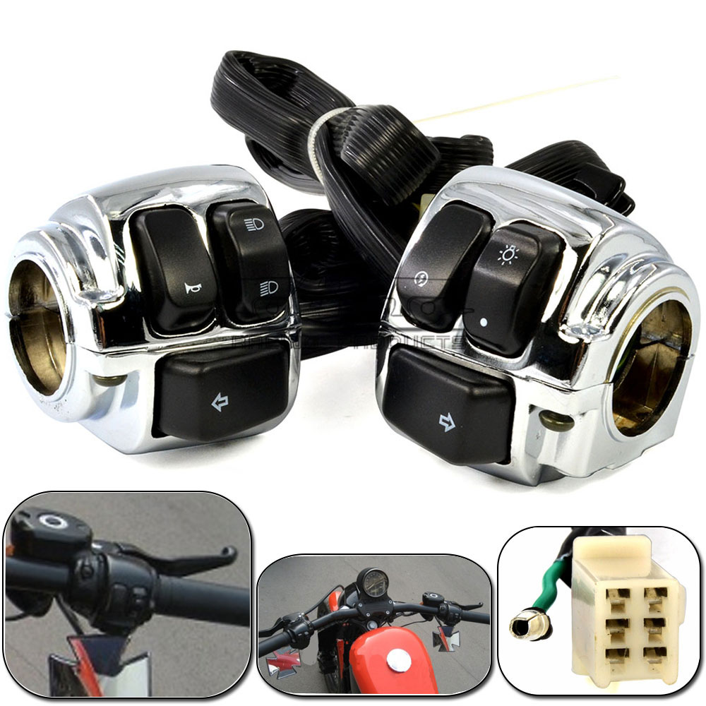 Motorcycle 1 Chrome Motorcycle Handlebar Control Switchs Housing Wiring Harness for Harley SOFTAIL DYNA SPORTSTER V